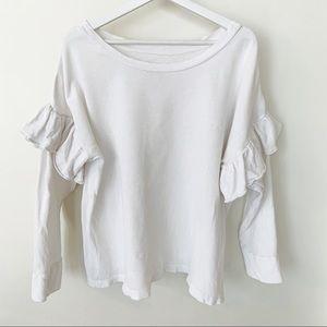 Current / Elliott Ruffle Sleeve Sweatshirt M